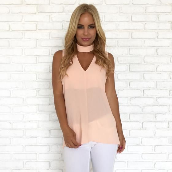 26820d448b73 Choker   Collared Sleeveless Blouse In Pink