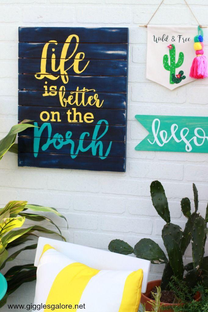 DIY Summer Porch Sign #relaxingsummerporches