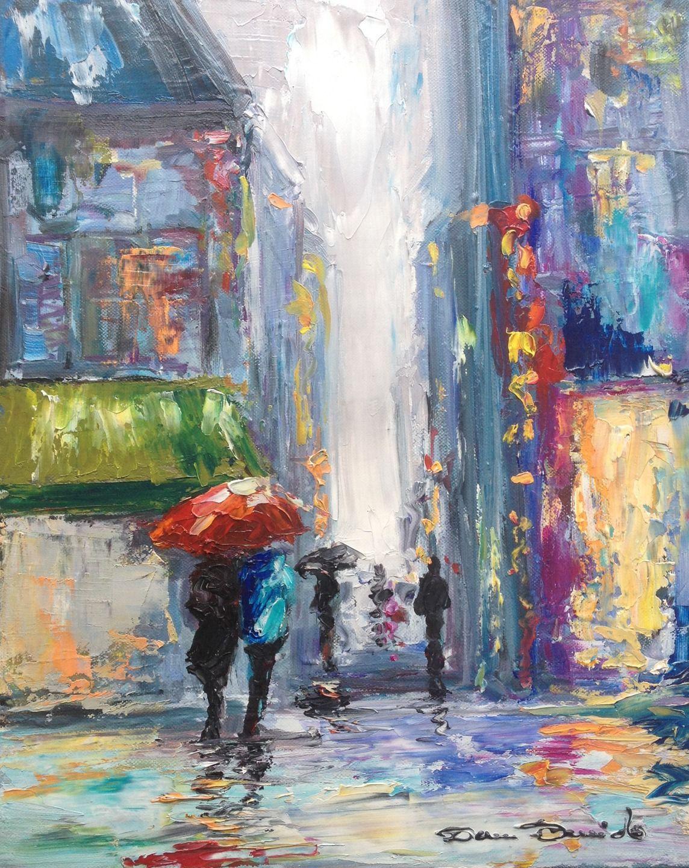 paysage urbain peinture de pluie new york peintures peinture parapluie dam domido peintures. Black Bedroom Furniture Sets. Home Design Ideas