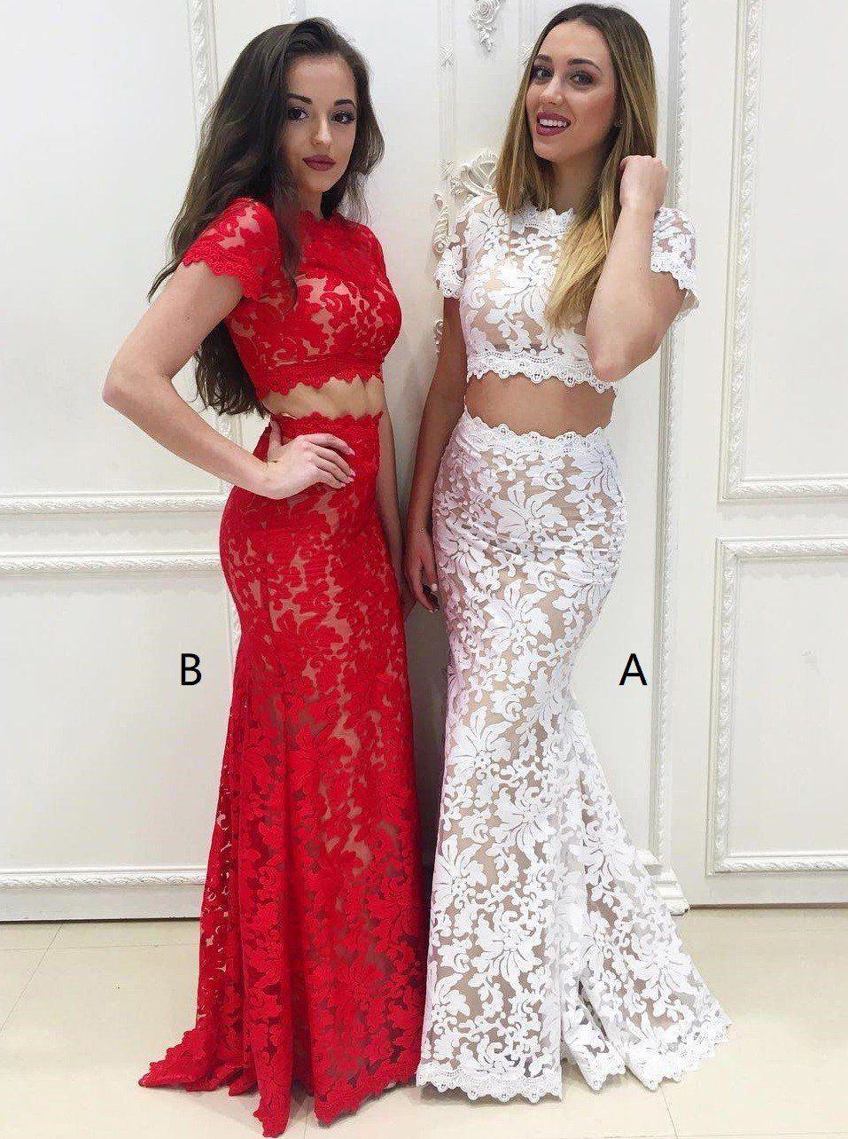 Two Piece Mermaid Round Neck Short Sleeves White Lace Prom Dress Rose Gold Dresses Vestidos Looks Com Saia Longa Moda [ 1285 x 957 Pixel ]