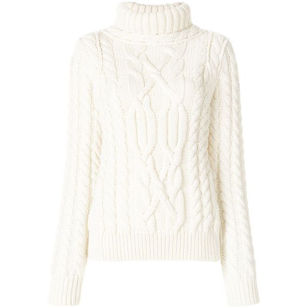 Moncler Grenoble cable knit turtleneck sweater (68.625 RUB) ❤ liked on Polyvore featuring tops