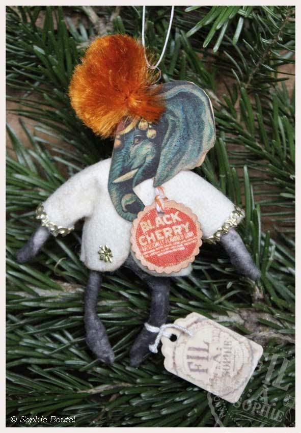 Nostalgischer Christbaumschmuck Wattefigur Elefant Antique inspired Victorian spuncotton Christmas ornament  for feathertrees and decoration