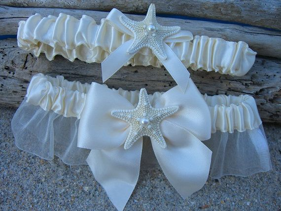 Beach Wedding Starfish Bridal Garter with by sandnsurfcreations
