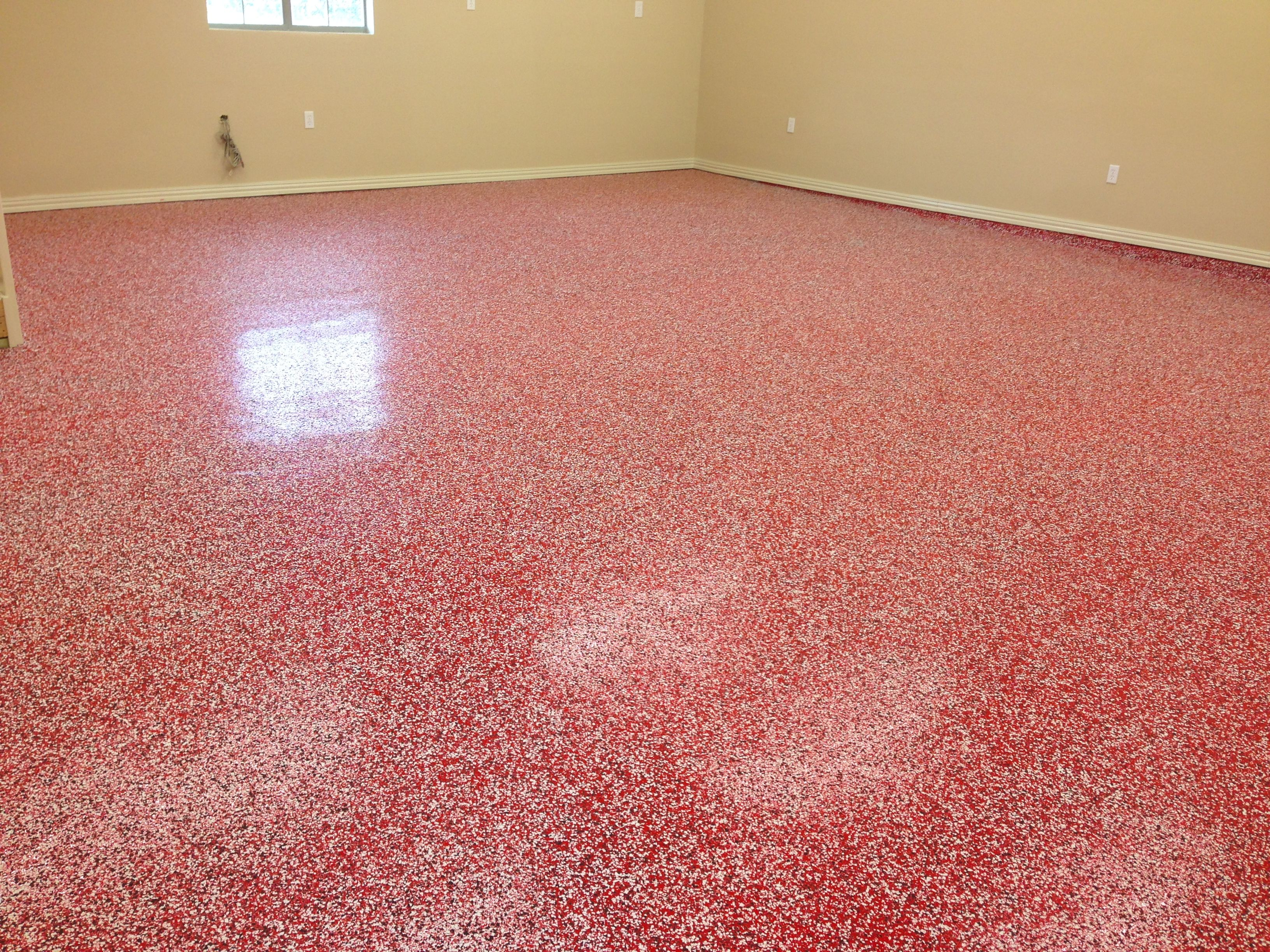 "garage floor coating ideas - 1 4"" Custom blend of white and black and red flake medium"