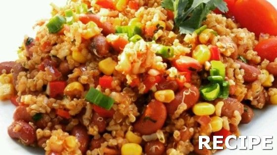 Mexican Quinoa Salad Recipe Recipe : Quinoa, corn, beans, and cilantro are tossed in a spicy chile dressing creating a Mexican-inspired salad perfect for lunch or dinner.