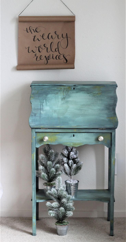 blue painted desk - painted vintage desk - #paintedfurniture