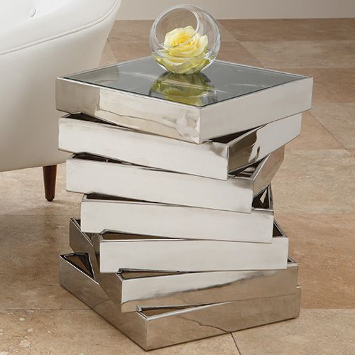 Tables, Vortex Side Table, in nickel, love geometric designs, over 3,000 beautiful limited production interior design inspirations inc, furniture, lighting, mirrors, tabletop accents and gift ideas to enjoy pin and share at InStyle Decor Beverly Hills Hollywood Luxury Home Decor enjoy & happy pinning