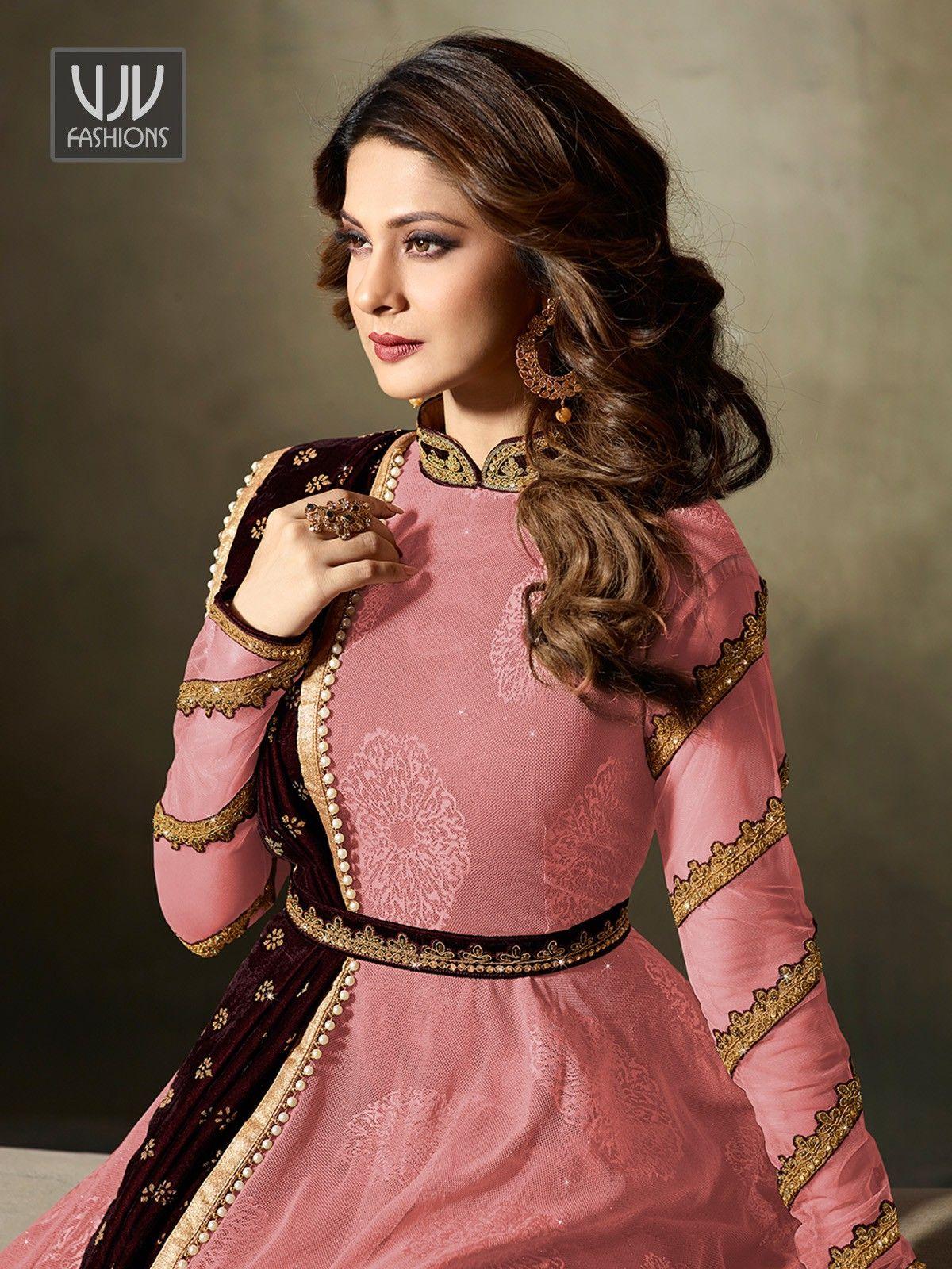cae76046c43018 Jennifer Winget Pink Velvet Designer Anarkali Suit in 2019 | me ...