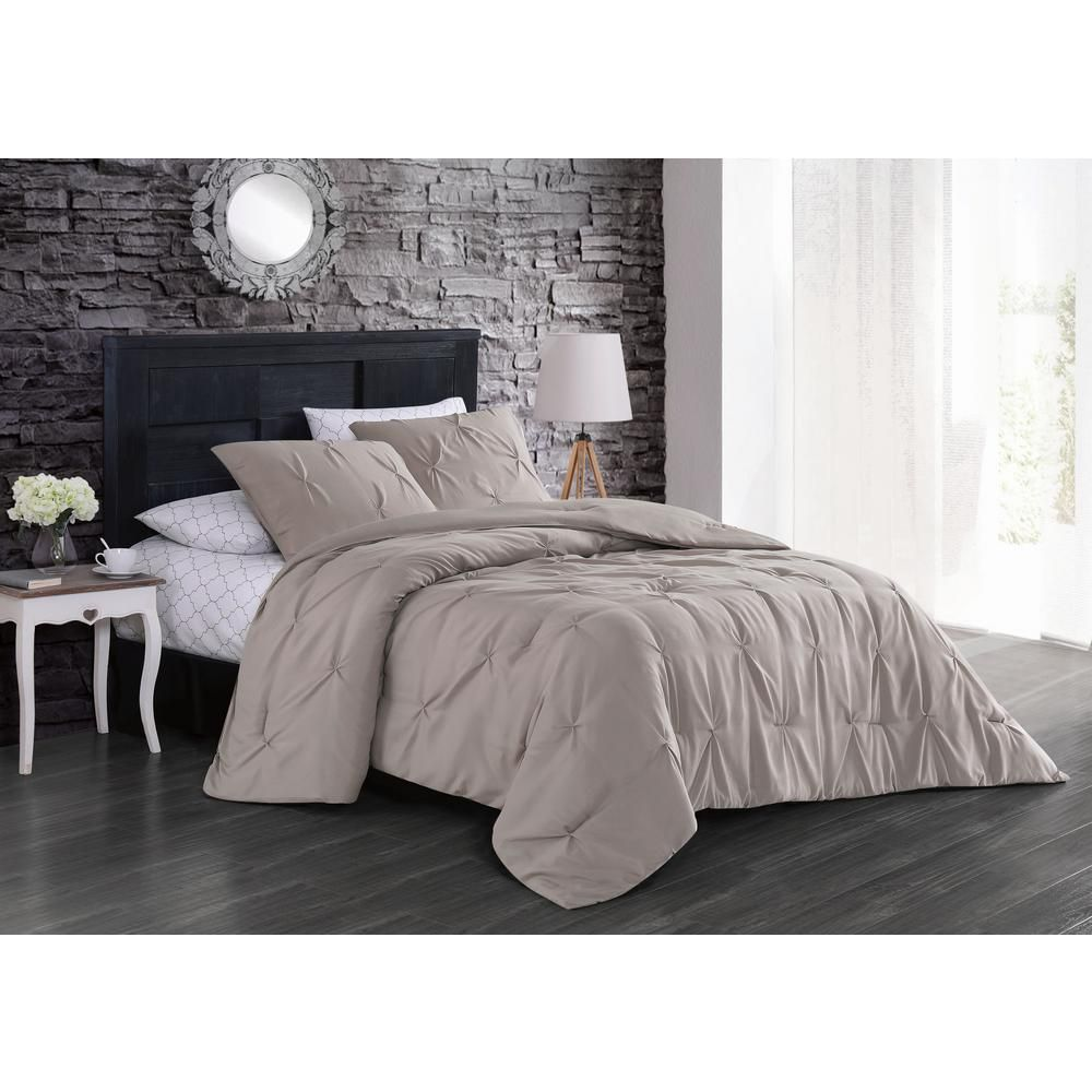 Geneva Home Fashion Flynn 5 Piece Taupe Twin Bed In A Bag Set