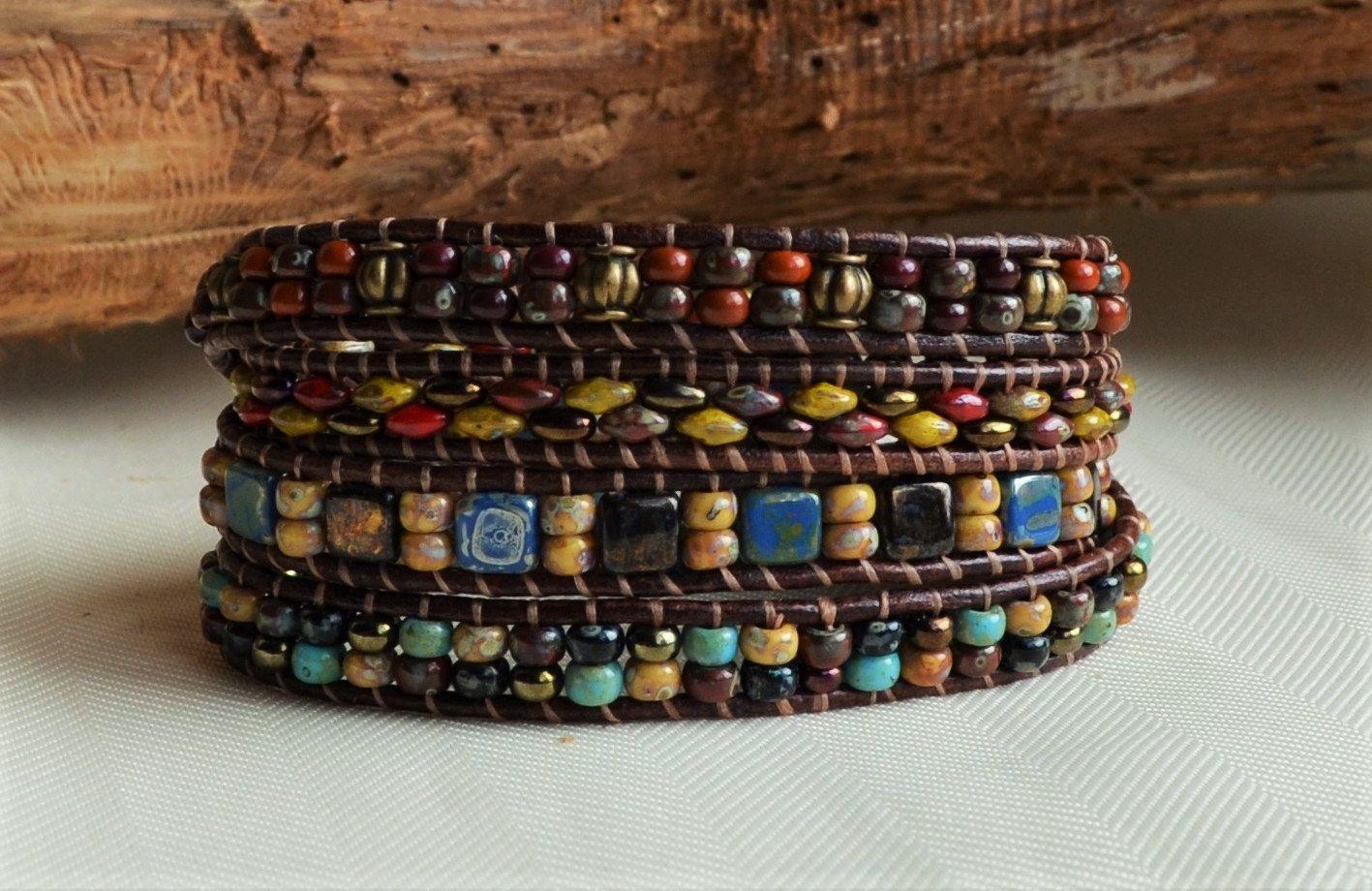 Multicolor Leather Wrap Bracelet Beaded Wrap Bracelet Boho Bohemian Jewelry…