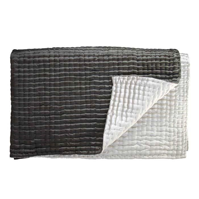 This silk popcorn quilt from Oly Studio is sure to bring a touch of luxe to any space. Hand-quilted silk quilt available in three sizes. Shown in charcoal and frost.  Also available in chocolate and champagne.     Charcoal and Frost available as Throw Only.  Chocolate and Champagne available in all Three Sizes.