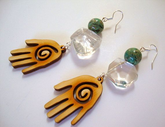 We Are ONE Earrings by Sigrid Anne Design / Quartz Crystal / Howlite / Wood / Hamsa Pendants / Silver / Boho / Tribal / Dangle Earrings
