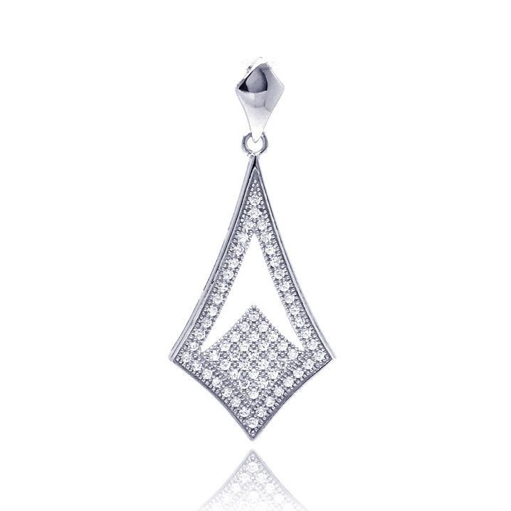 .925 Sterling Silver Rhodium Plated Micro Pave Sharp Teardrop Cubic Zirconia Dangling Pendant