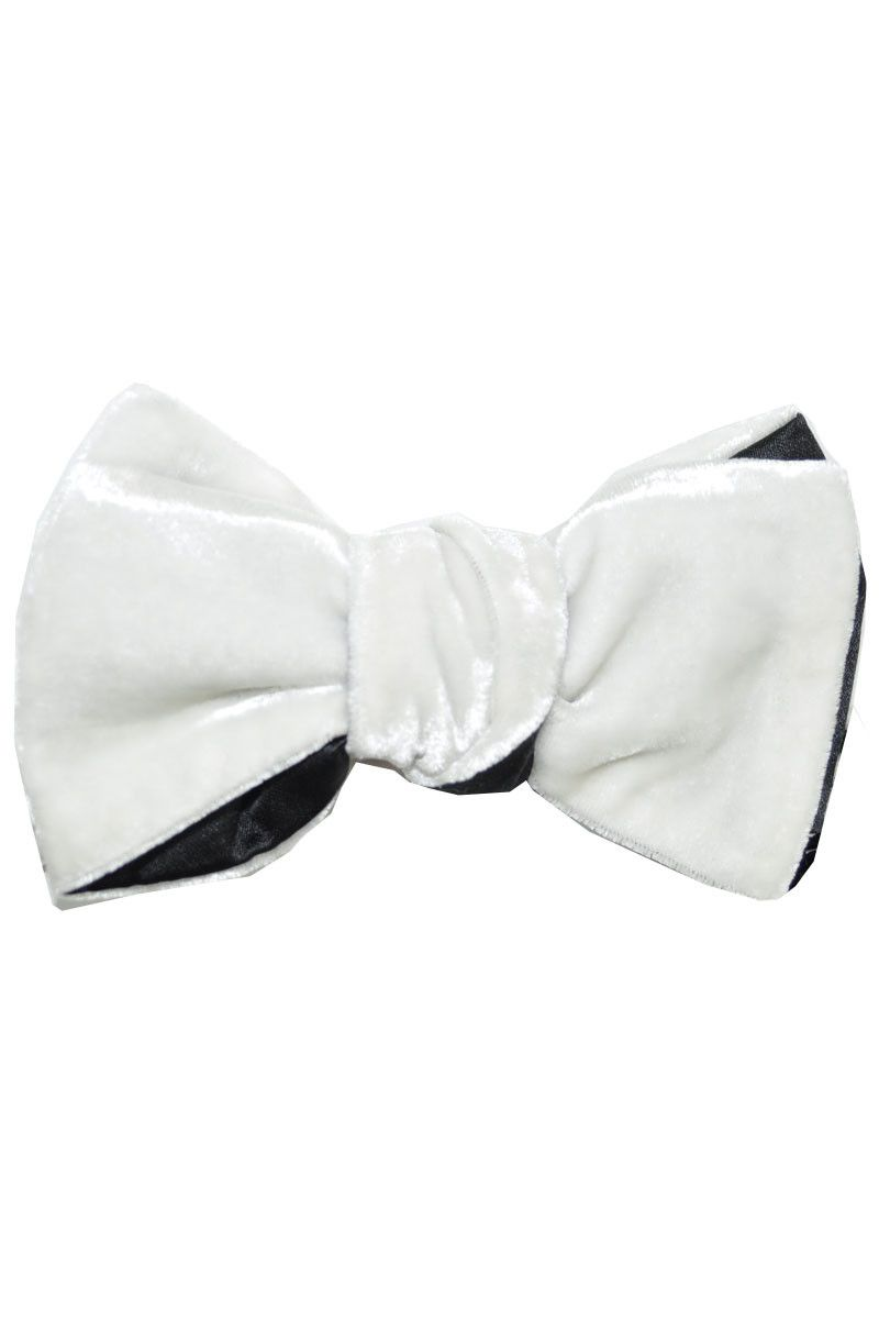 a24afba30d93 White velvet bow tie with black silk back, self tie, hand made in  Australia, Le Noeud Papillon.