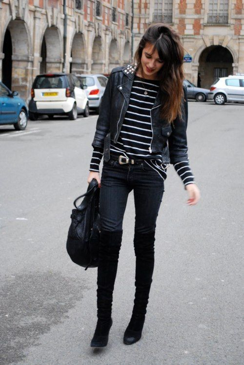 Love everything  Striped top, skinny jeans, boots, black leather jacket. 0638d114efe6