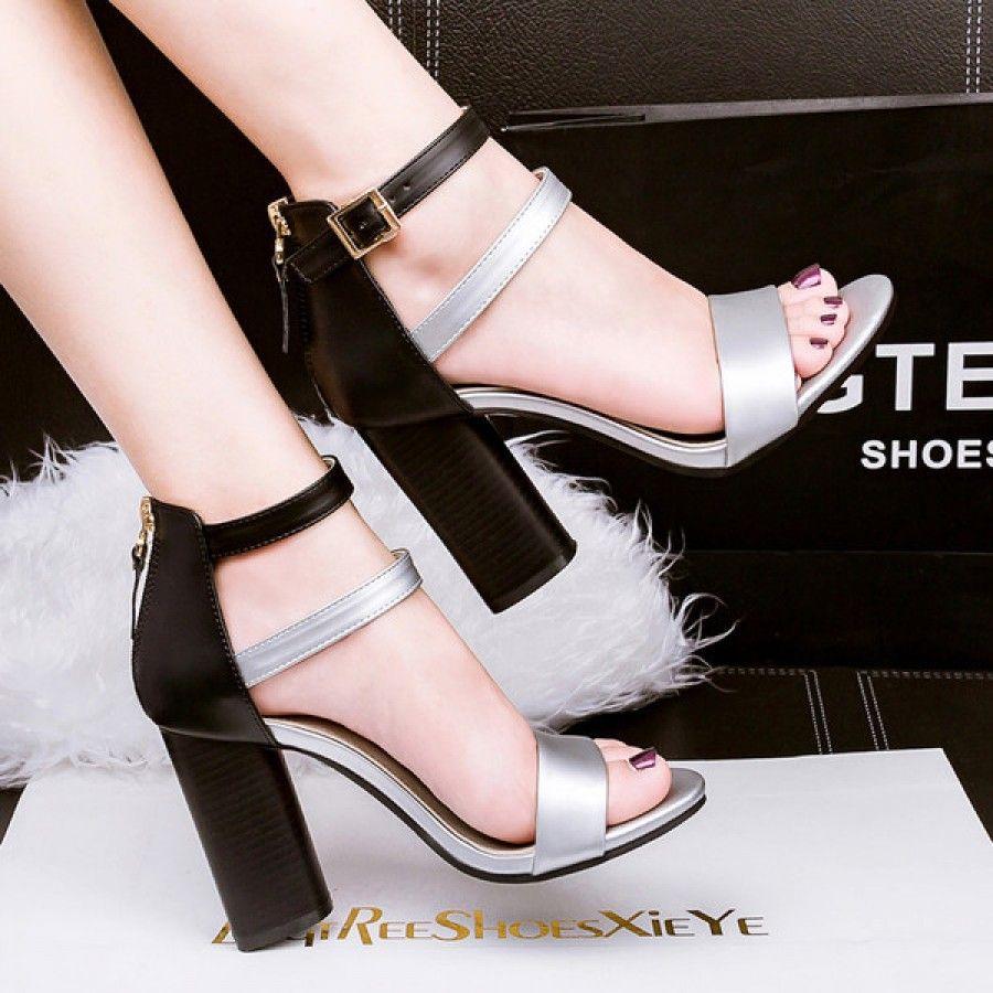 Metallic Silver Double Strap Block Heel Sandals #SS16