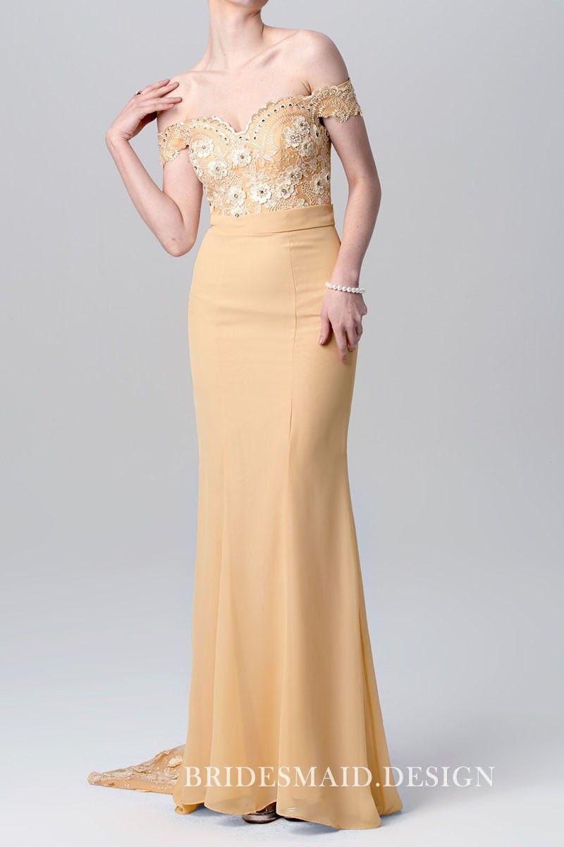 Cream colored vintage wedding dresses  D Flowers Embellished Offtheshoulder Elegant Long Champagne