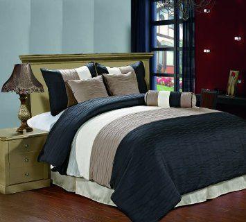Best Amazon Com Amber 7 Piece Jacquard Comforter Set Black Taupe Cream Metallic Colors Fused P 400 x 300