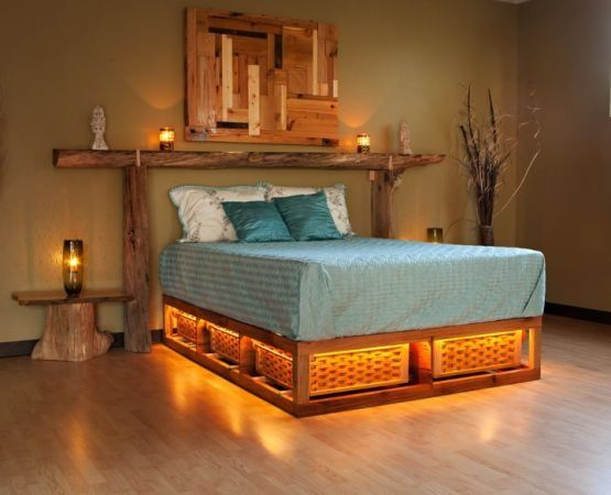 Light Up Bed Pallet Furniture Bedroom Barnwood Bed Diy Loft Bed