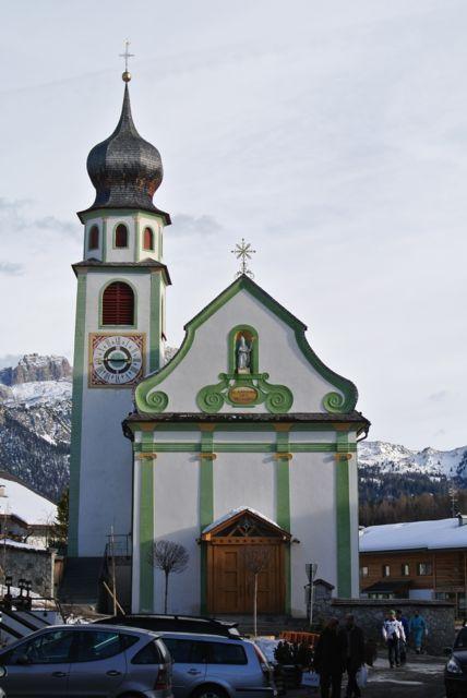 Parish church in San Cassiano (Alta Badia) in the Dolomites, Italy