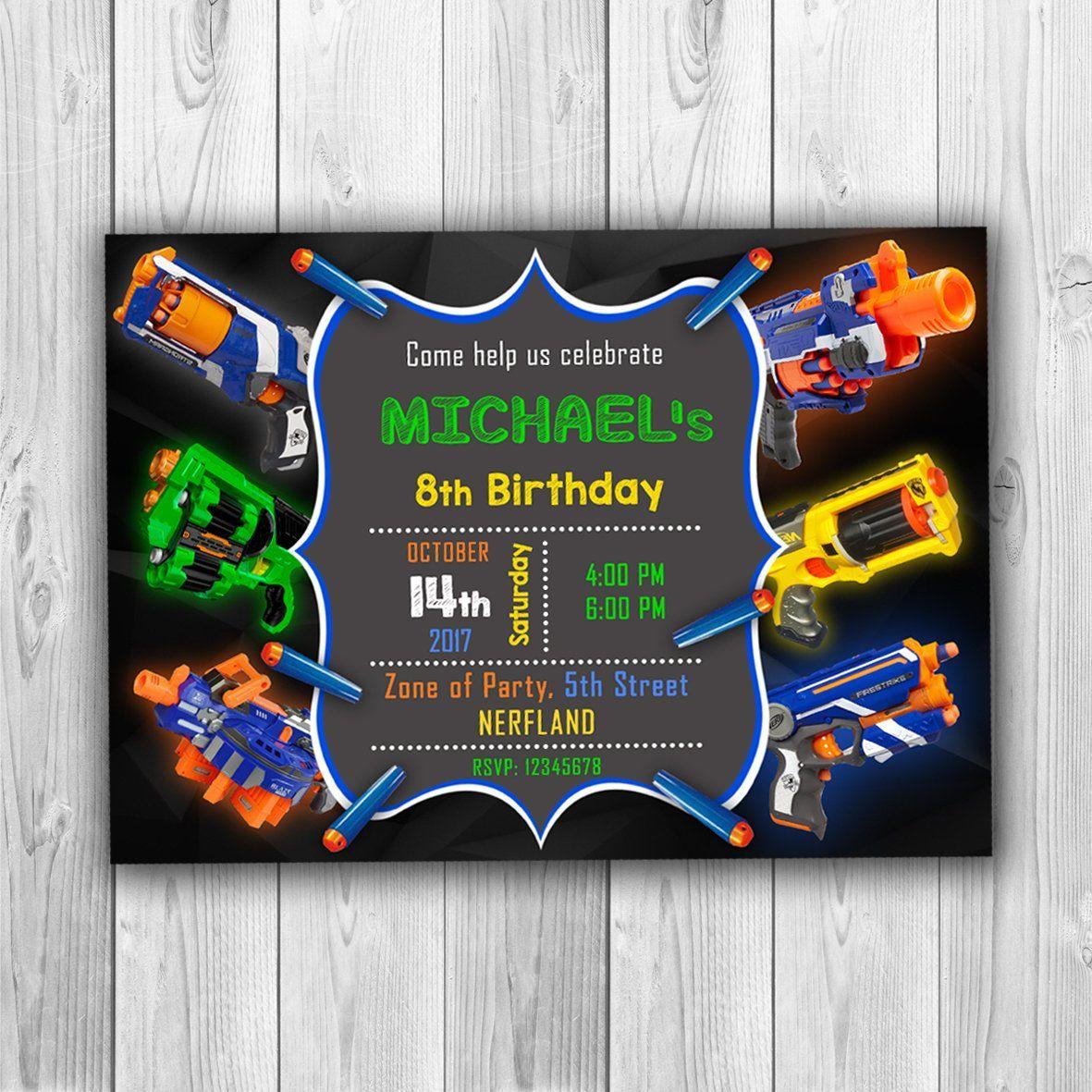 Pin on Nerf birthday invitations