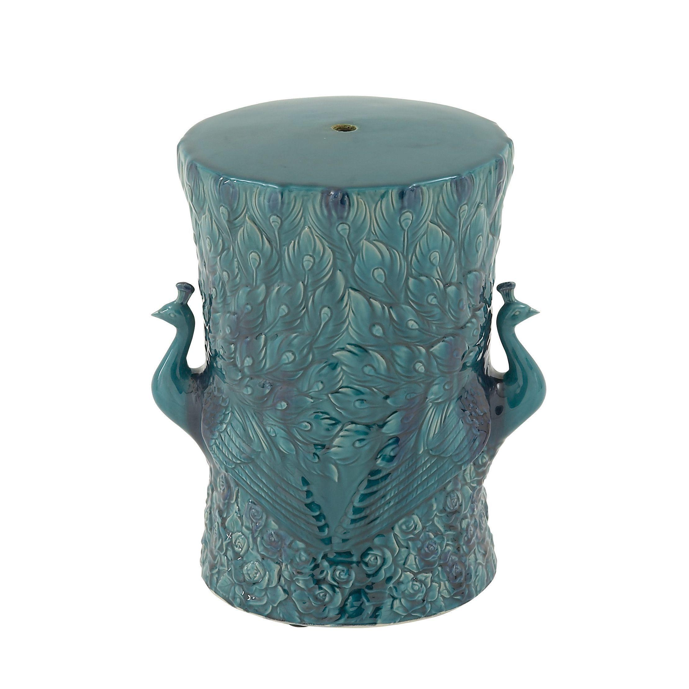 Blue Ceramic Accent Table