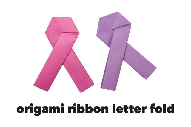 Origami Pink Ribbon Letter Fold Tutorial  Origami Foundation