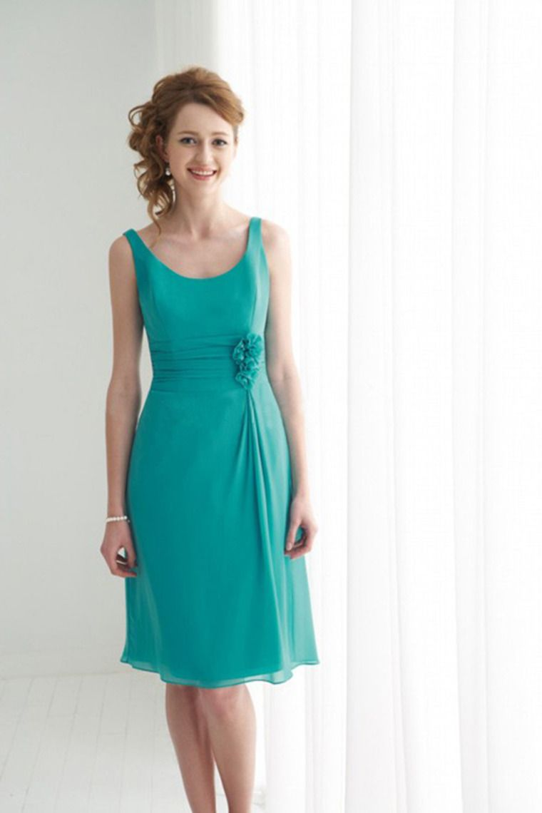 Regular straps a line above knee length dress chiffon with ruffles