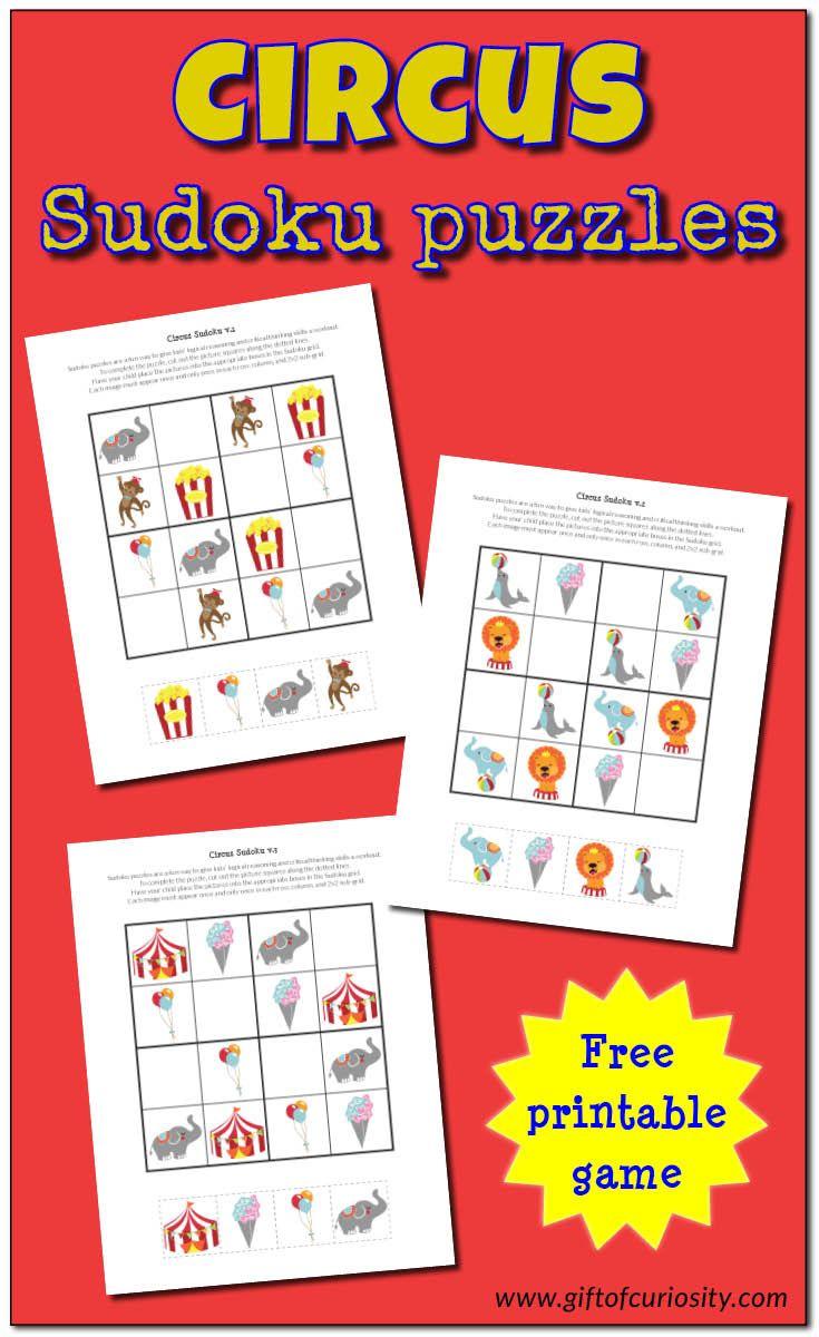 Circus Sudoku {free printables} Circus activities, Free