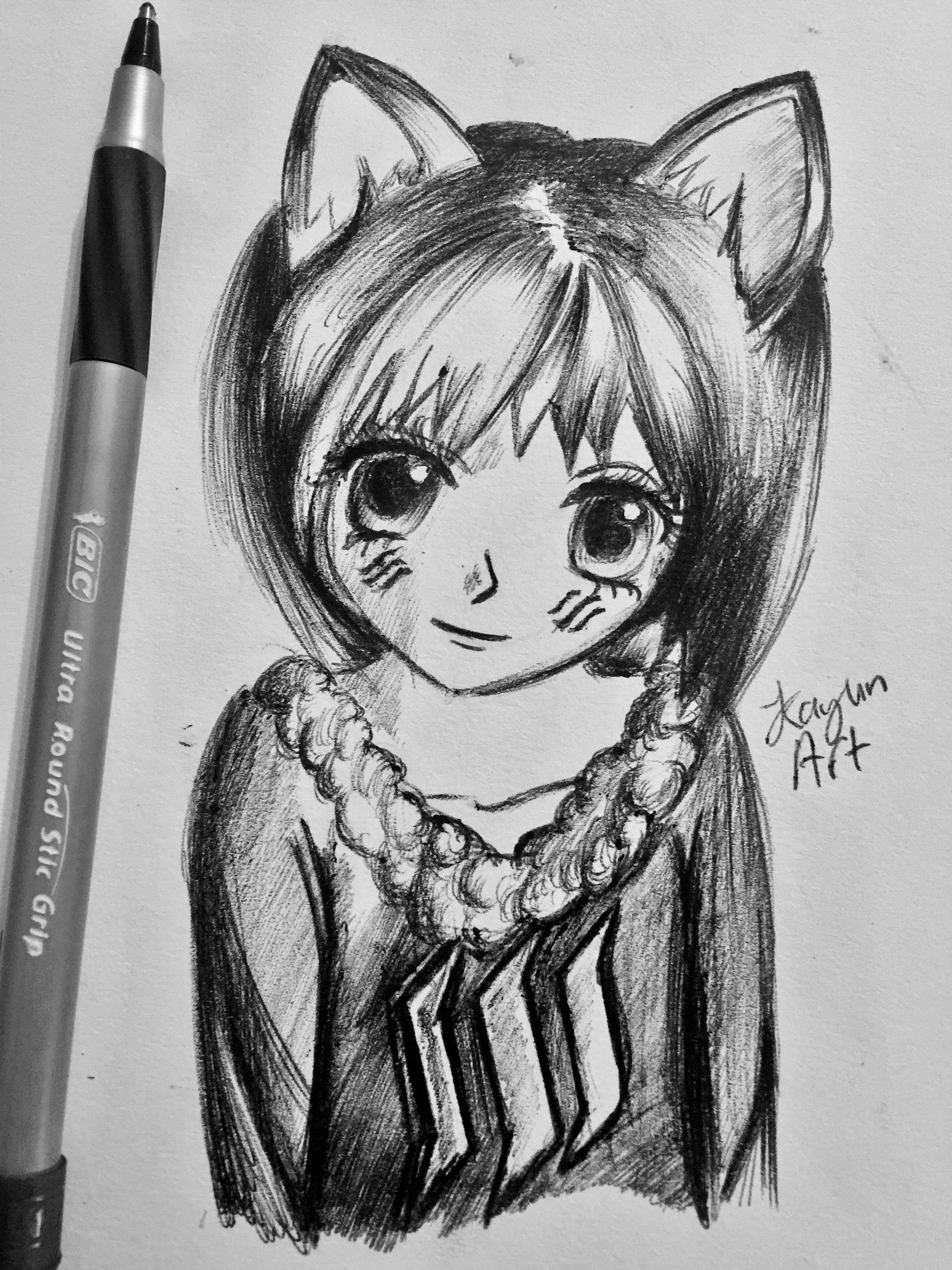 Anime Cat Girl Drawing Anime Cat Girl Drawing Girl Drawing Anime Cat Cat Girl