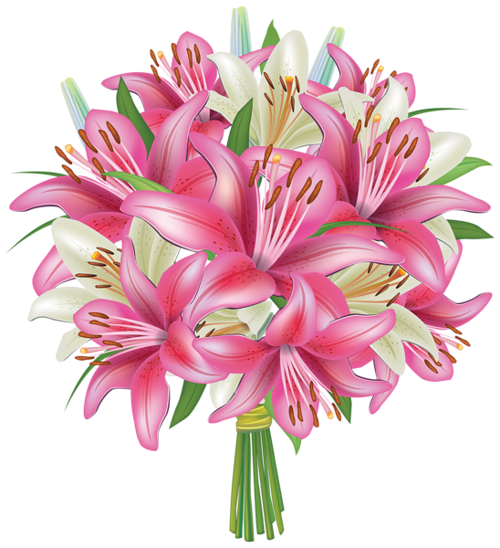 White and Pink Lilies Flowers Bouquet PNG Clipart Image | Flowers ...