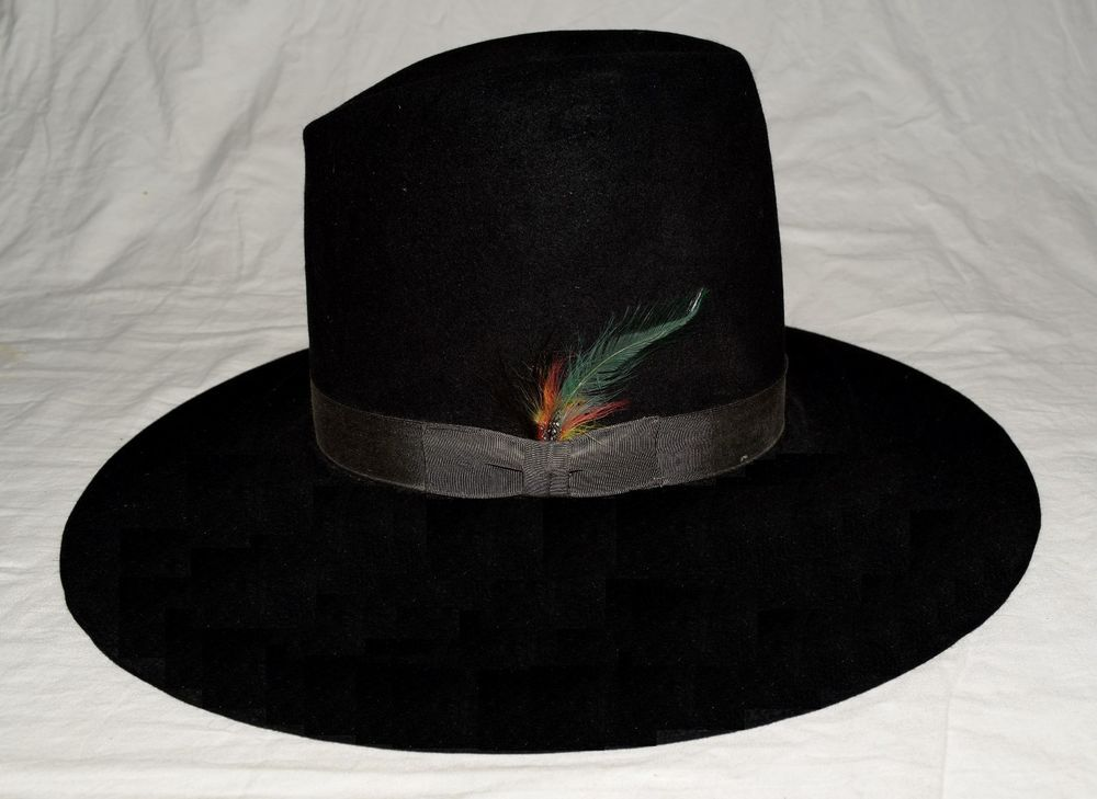 Vintage Stetson Tom Mix Style Black 4X Beaver Mens Hat w  Side Feather Sz 7  USA  Stetson  CowboyHat c109e977da6