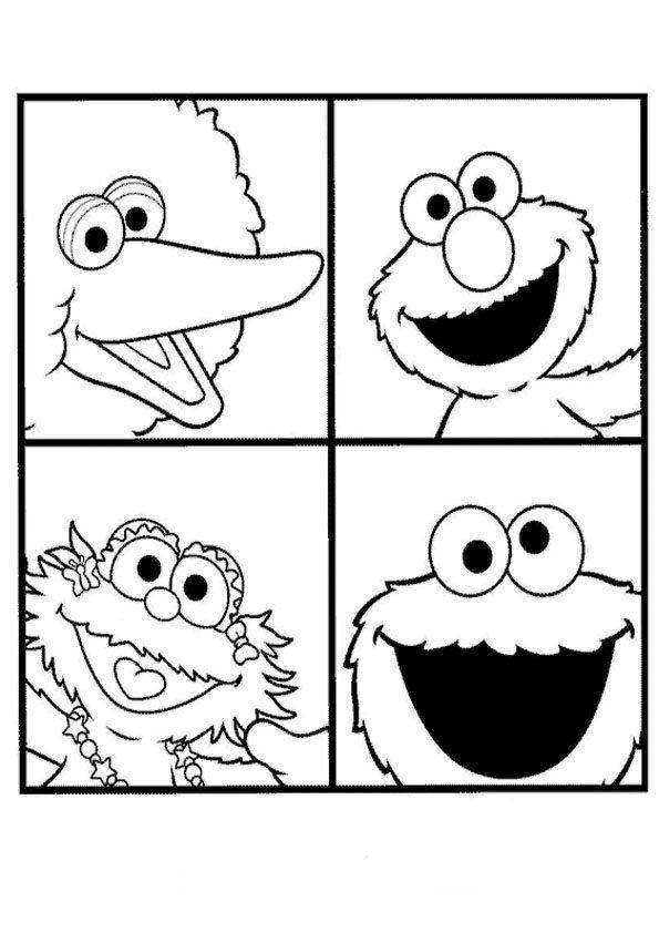 Print Pino, Elmo, Zoe en Koekiemonster kleurplaat   B-day Sesamo ...