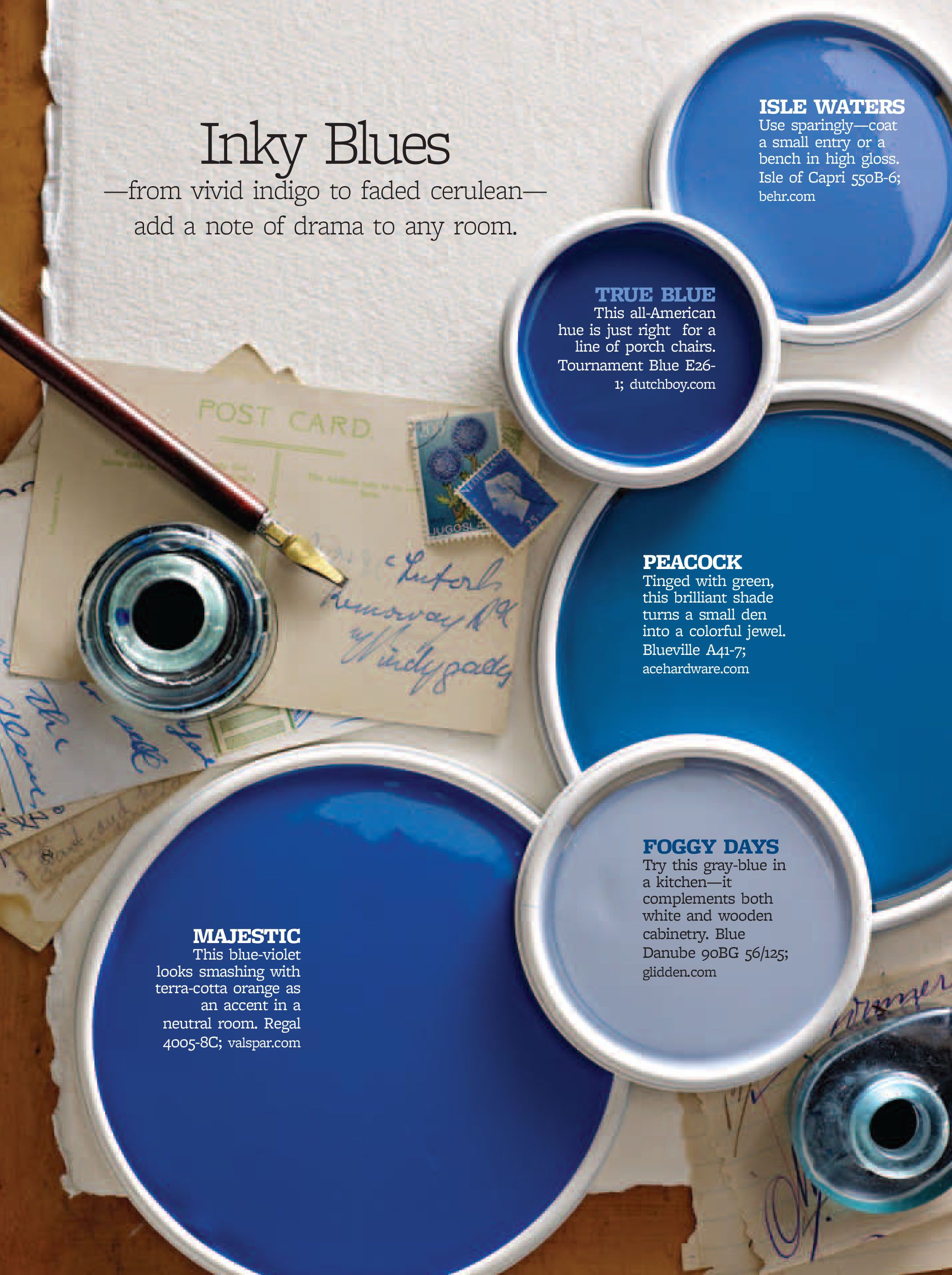 True Blue Paint Color Better Homes And Gardens Inky Blues Bhg Color Palettes