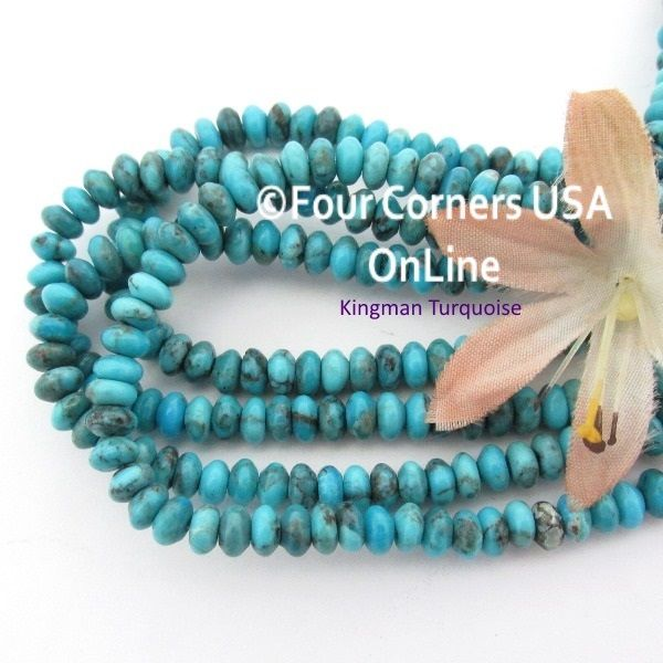 inch round tq old kingman turquoise strands usa online beads pin blue
