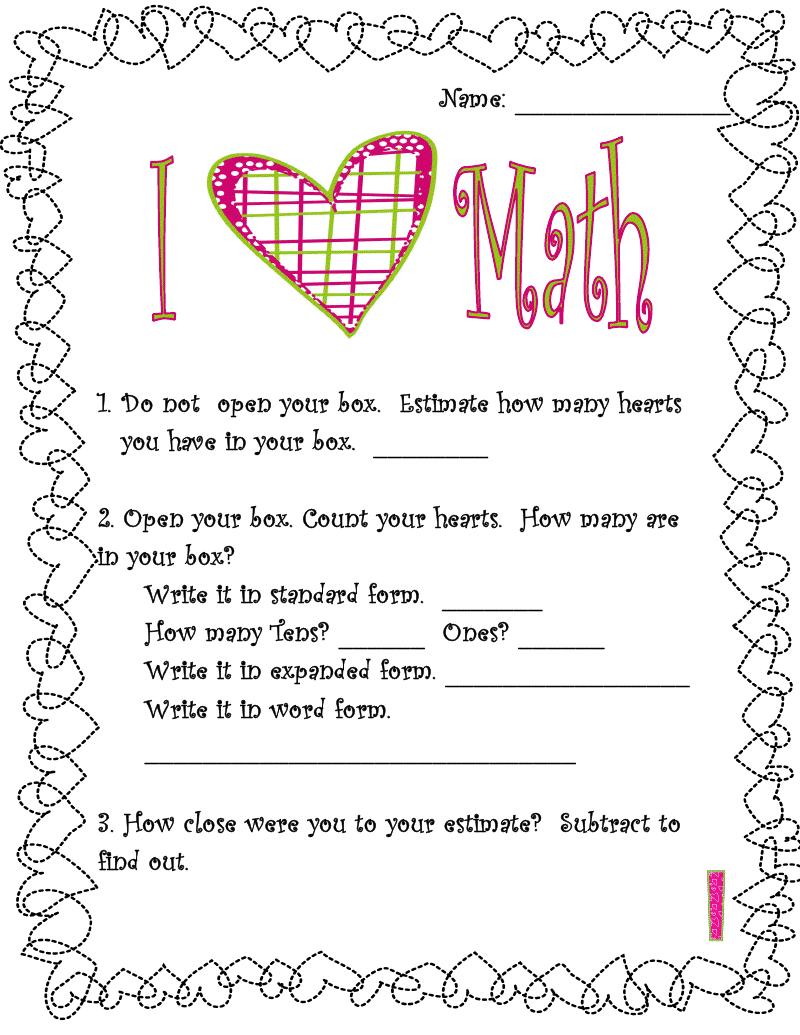 Free Valentine\'s Day Math | Adventures of a Third Grade Teacher ...