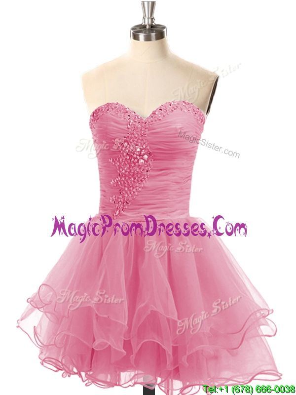 Casual Lace Up Organza Short Prom Dress with Beading,short prom ...