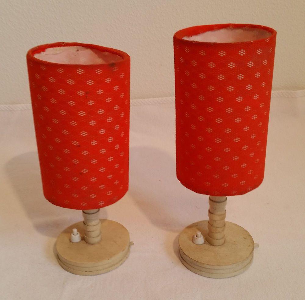 2 X Nachttischlampe Tischlampe Tischleuchte Rot Ddr Alt Antik Shabby