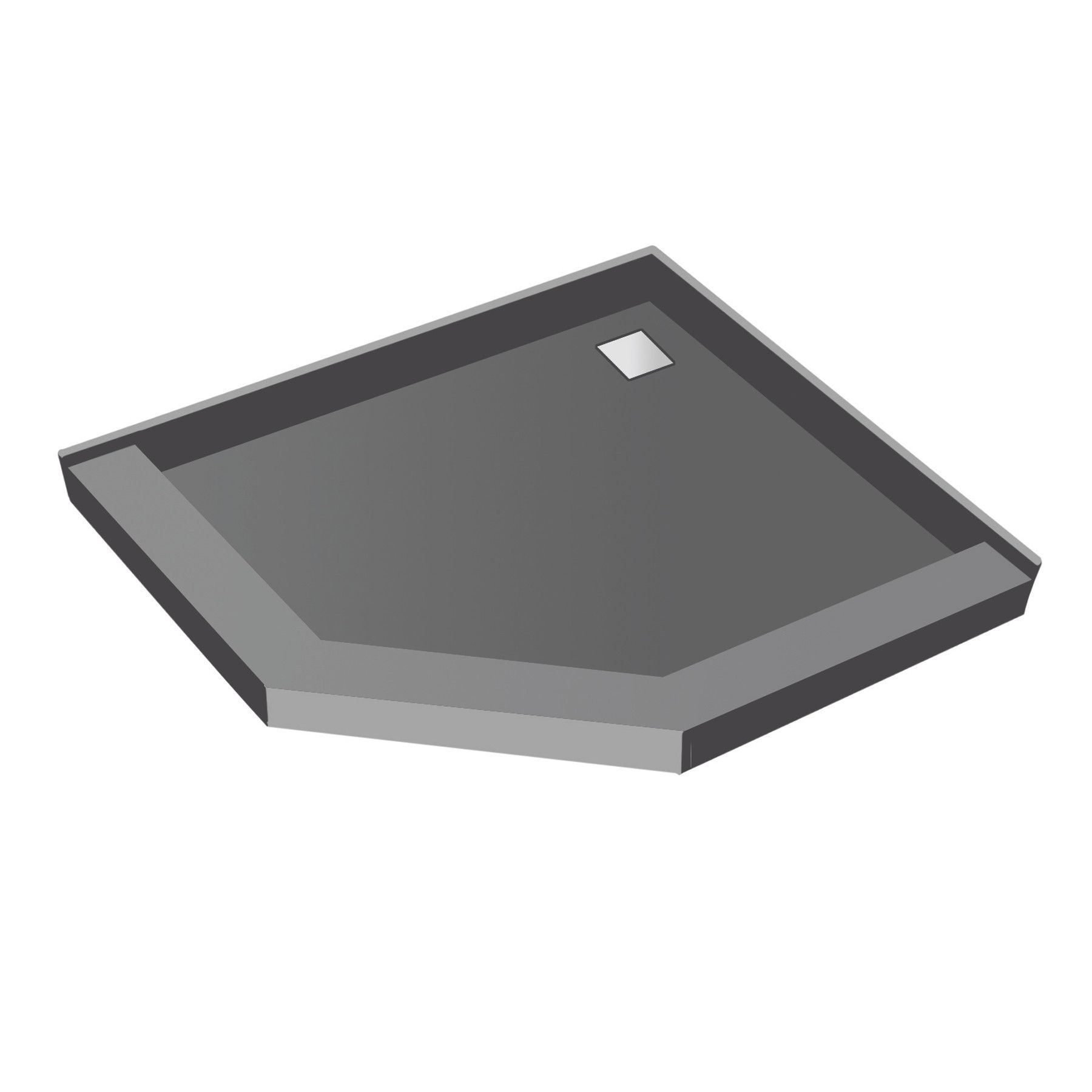 50 X 50 Neo Angle Triple Threshold Shower Base With Drain Top