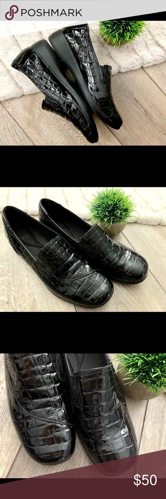 08e057dbe9a Clarks Keesha Luca Black Patent Crocodile Loafer Clarks Keesha Luca Black  patent leather crocodile loafers.