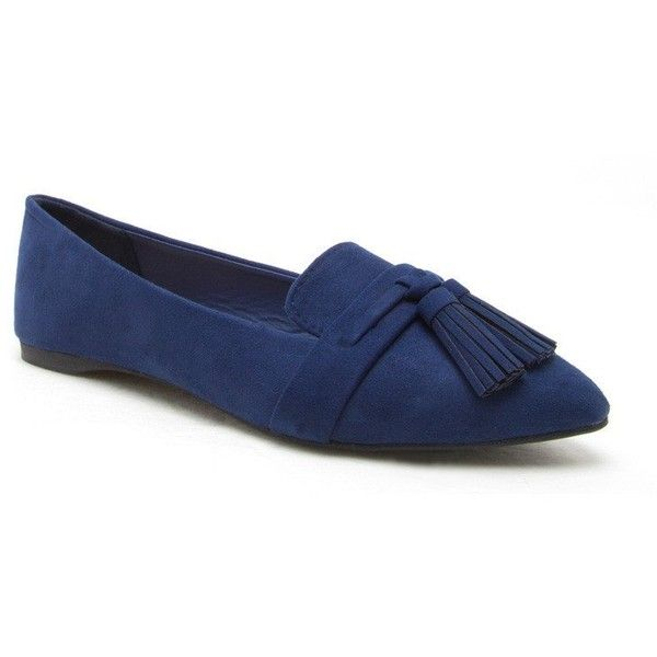 POPLAR-01 Navy Pointer Toe Tassel Loafer (2090 RSD) ❤ liked on Polyvore featuring shoes, loafers, tassel shoes, pointy shoes, navy shoes, slim shoes and pointed shoes