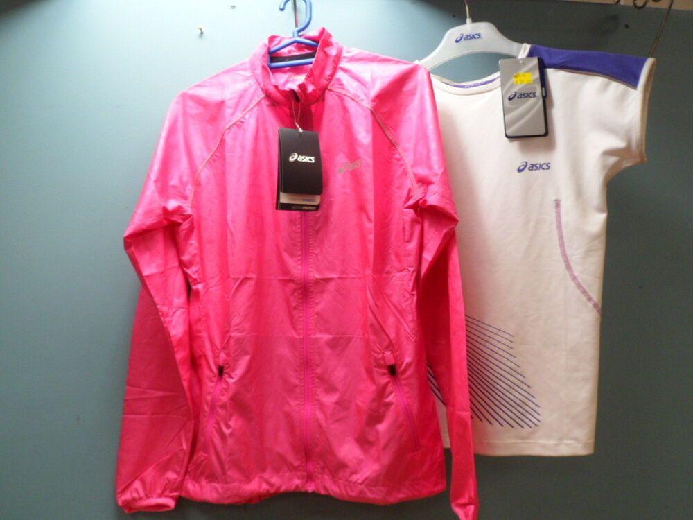 6aefce3d006 Asics Wind Jacket   Cap Sleeve T-Shirt Pink Purple Bundle Ladies ...