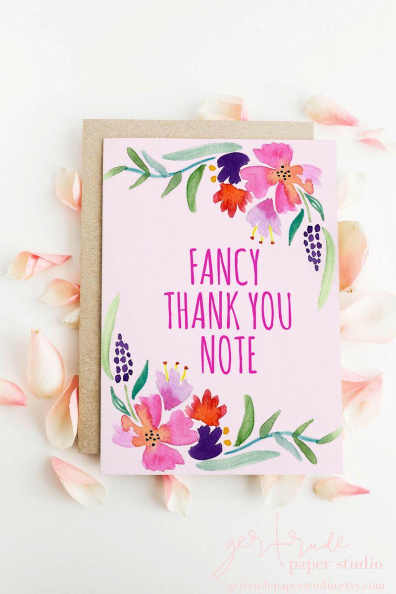 thank you card - wedding thank you card - floral thank you card ...