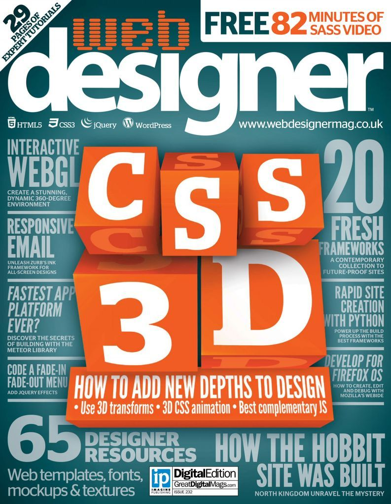 Web Designer is the premier magazine for aspiring online creatives and industry professionals. The monthly title offers cutting-edge practical projects spanning XHTML, CSS, Flash and WordPress as well as hosting features and interviews with the web community's most influential people. Each issue also has a dedicated Industry section covering news and views from the trade, website showcases featuring the finest design talent. Web Designer: Defining the Internet through beautiful design… Please no