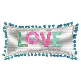"""Cotton lumbar pillow with tassel trim.     Product: PillowConstruction Material: Cotton with poly fillColor: MultiFeatures: Insert includedDimensions: 15"""" x 32""""Cleaning and Care: Spot clean"""