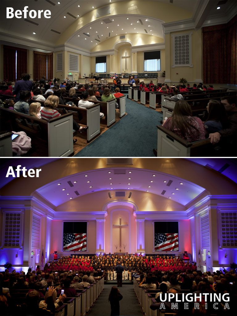 Uplighting Before And After Example From America Atlanta Area Decor Lighting Company Patriotic For Veterans Ceremony At Acworth