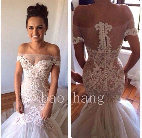 2015 New Custom Sexy Off Shoulder Backless Mermaid Bridal Wedding Dress Gown