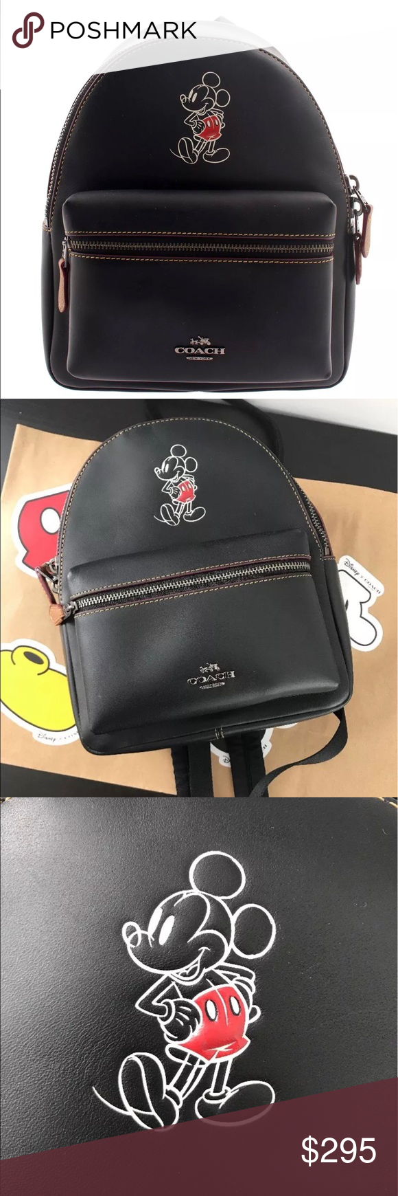 c14165a27e3 COACH X DISNEY MICKEY Mini Charlie backpack 100% authentic Used Disney X  Coach F59837 Mini Charlie Backpack Glove Calf Leather Mickey Black Limited  Edition ...