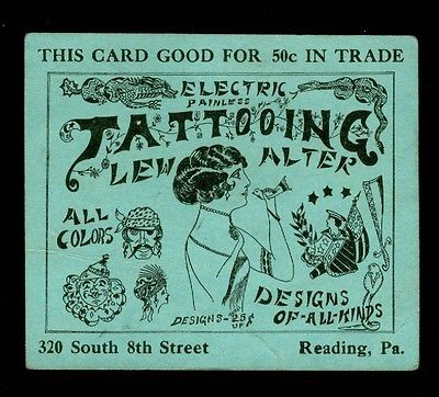 Vintage tattoo business card 1910s reading pa flash art great vintage tattoo business card 1910s reading pa flash art great graphics ebay reheart Gallery