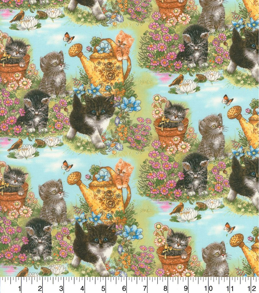 Novelty Cotton Fabric Kittens In Garden Joann Fabric Cotton Fabric Beautiful Quilts
